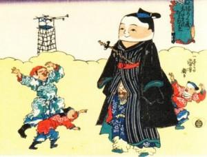 福禄寿あたまのたわむれ 相撲取り 歌川国芳