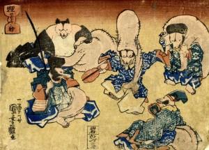 狸の七ふく神  歌川国芳