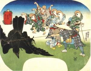 雀の百狂 鳥さし  歌川国芳
