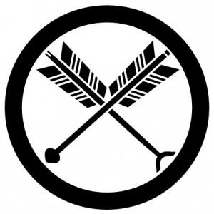 丸に矢尻付き違い矢紋 ARROW