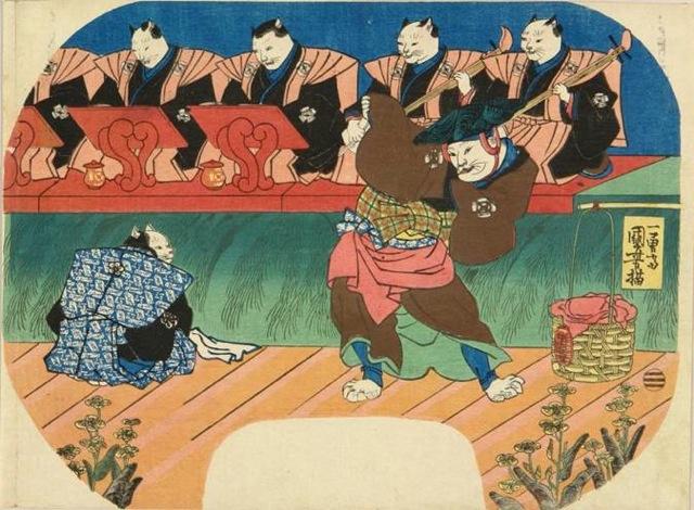 猫の歌舞伎 出語り図  歌川国芳